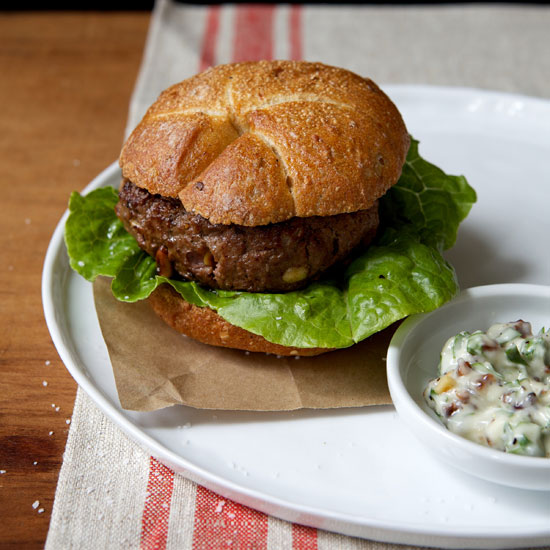 Buffalo Burgers with Raisin-Garlic Mayonnaise