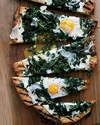 Grilled Pizza with Greens and Eggs