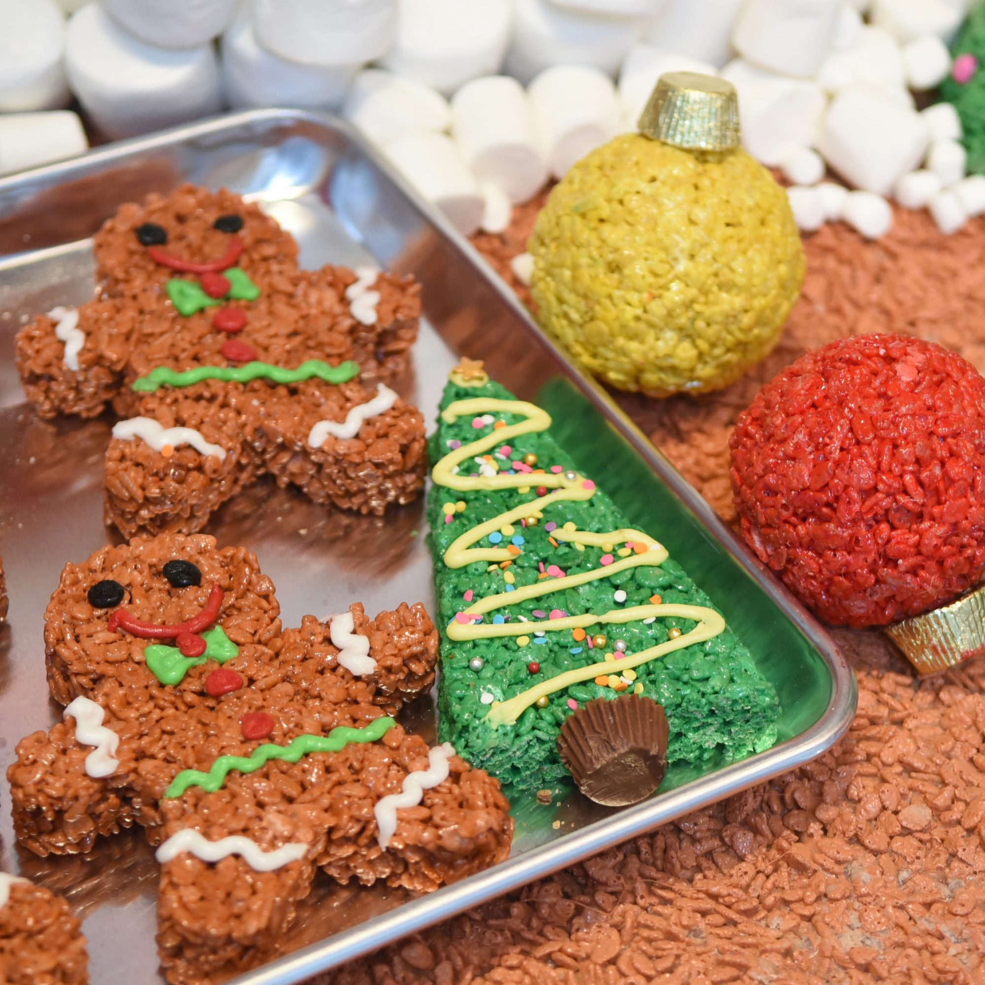 Rice Krispies Treats gingerbread men and ornaments