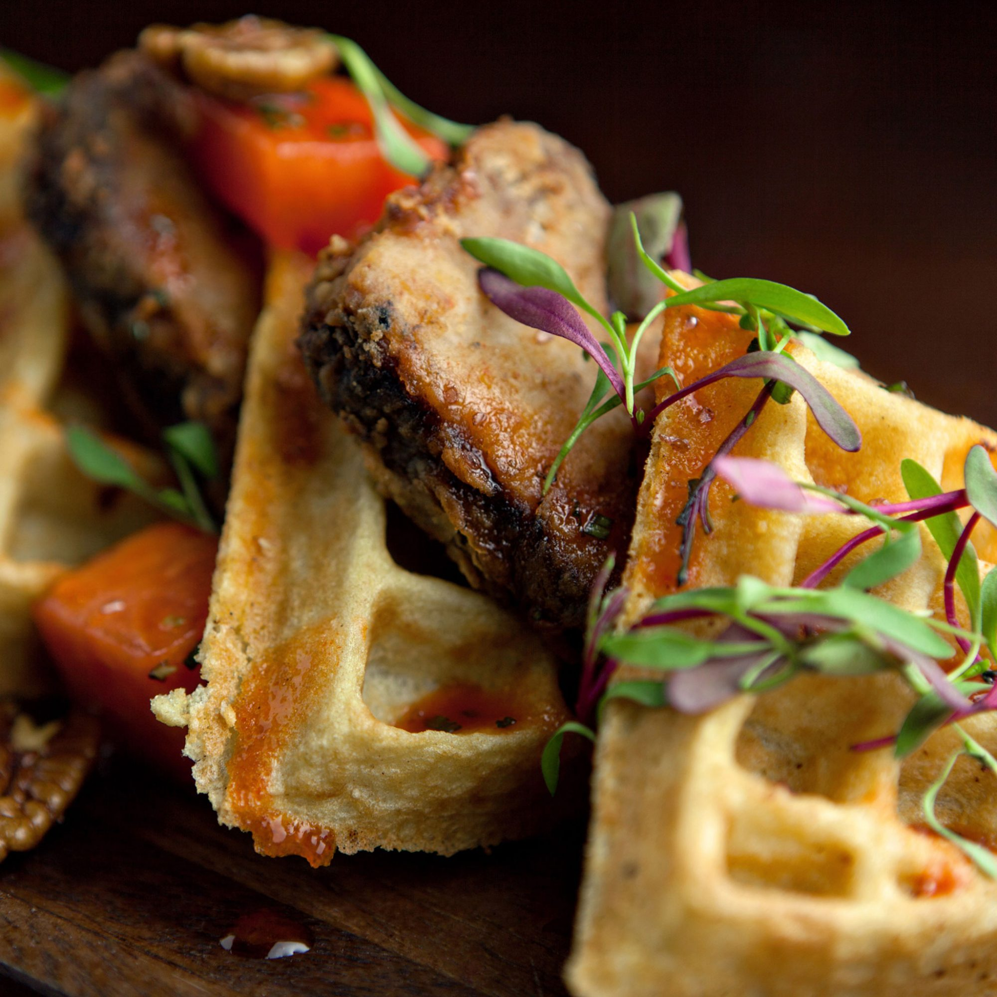 Fried Bacon Has Its Way With Chicken & Waffles