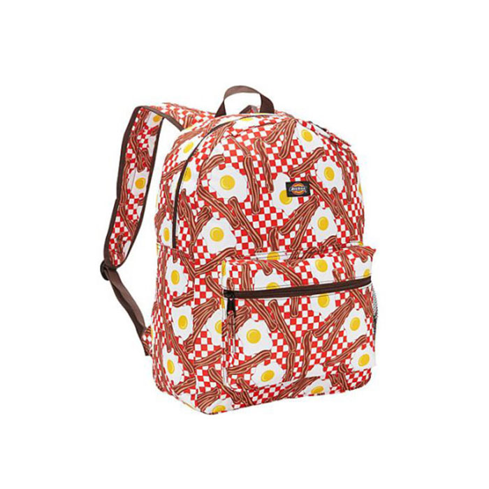 food-themed, travel, bacon, eggs,, backpack