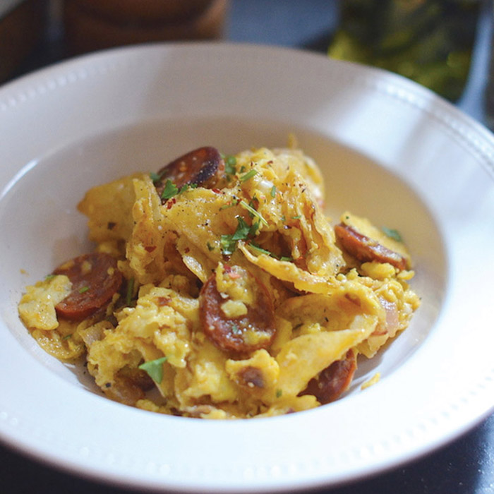 Potato Chip Scrambled Eggs With Chorizo