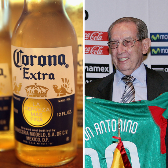 A bottle of Corona (left) and Antonino Fernandez (right)