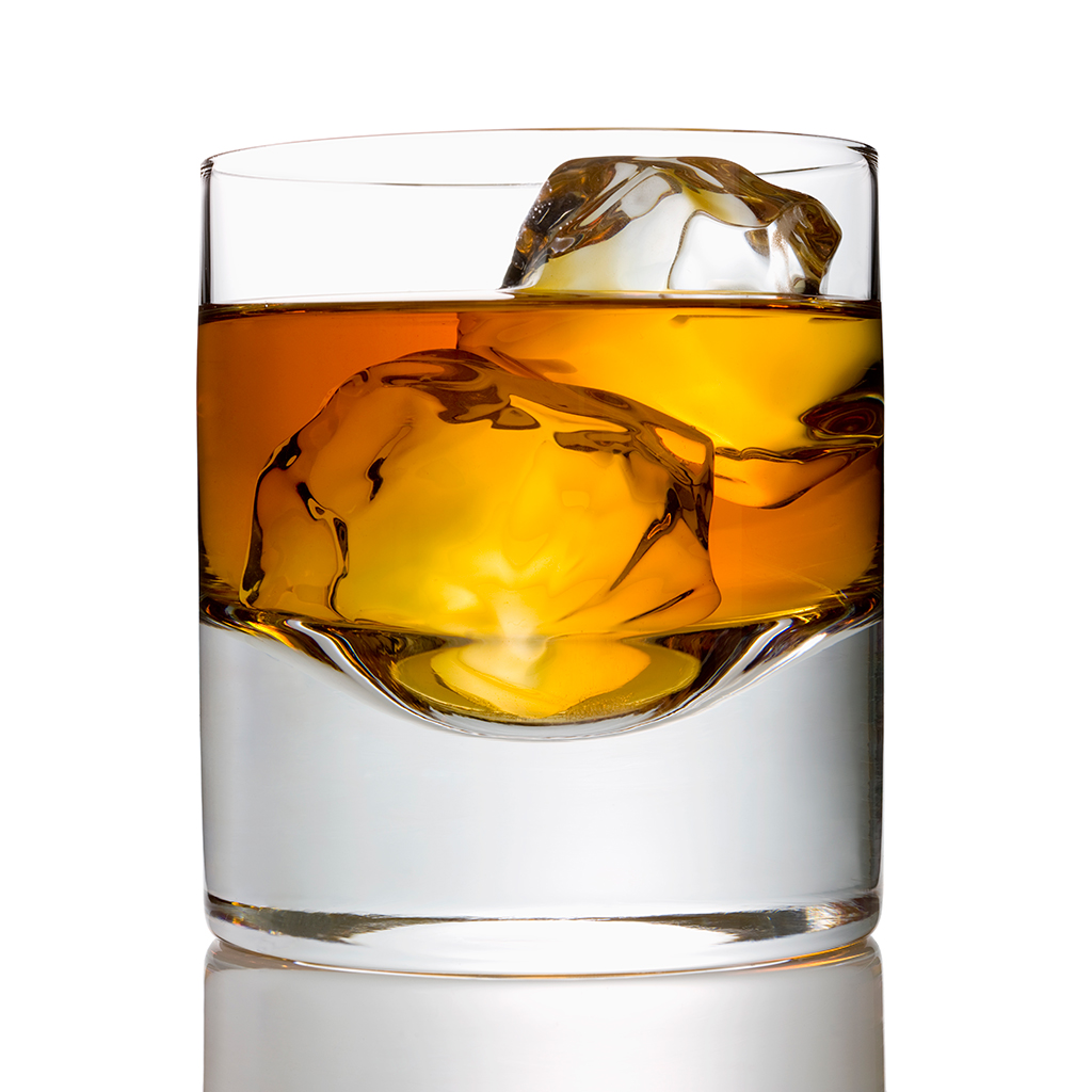whiskey, glass, ice