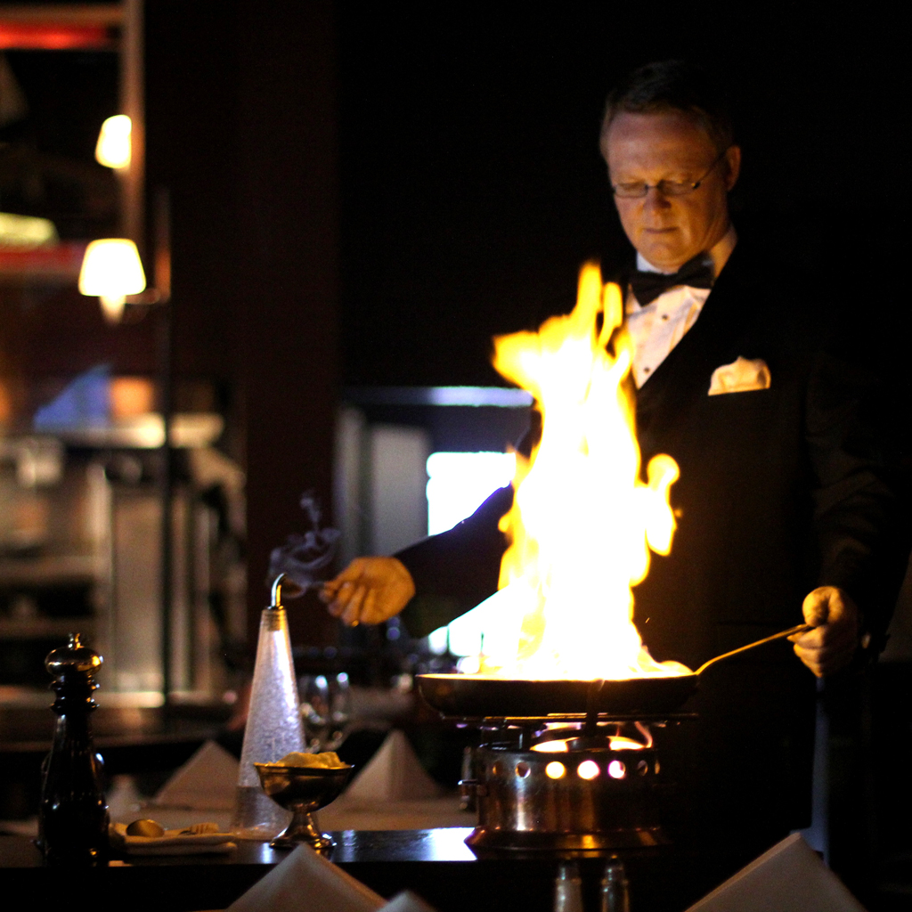 Flaming desserts and tuxedoed waiters at El Gaucho
