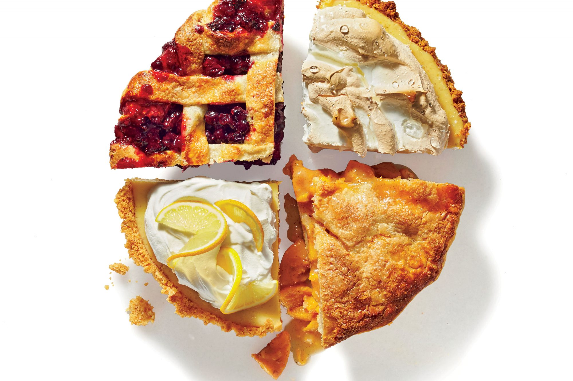 Fruit Pie, Peach Pie, Cookie Pie, and Meringue Pie
