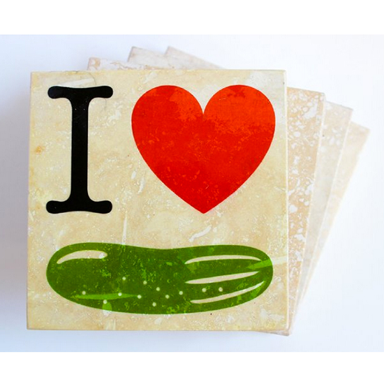 """I Heart Pickles"" Coasters"