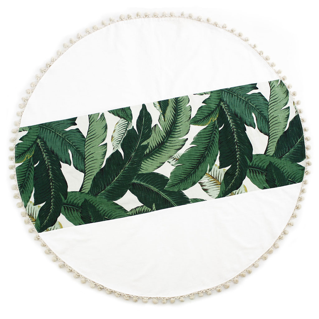 Martinique Banana Leaf Linen Beach Towel