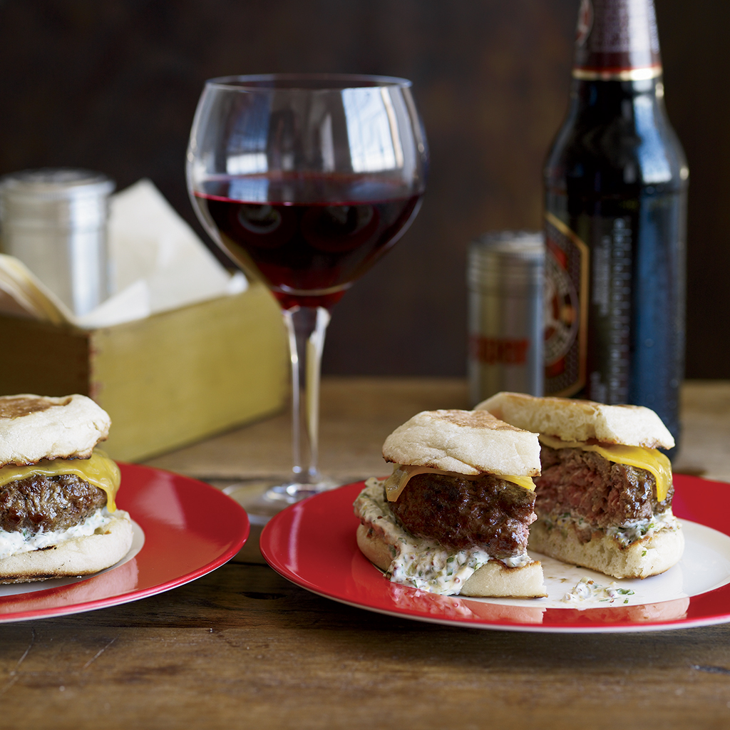 FWX BEEF AND LAMB BURGERS WITH CHEDDAR AND CAPER REMOULADE
