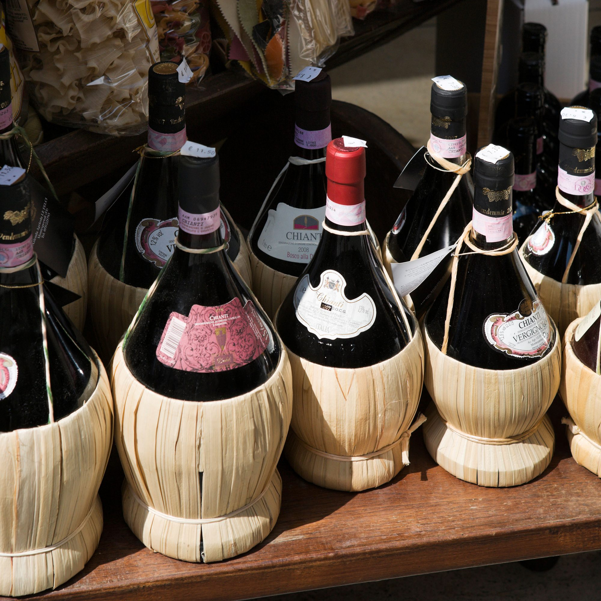 FWX CHIANTI MORE THAN CHEAP WINE IN A STRAW BASKET