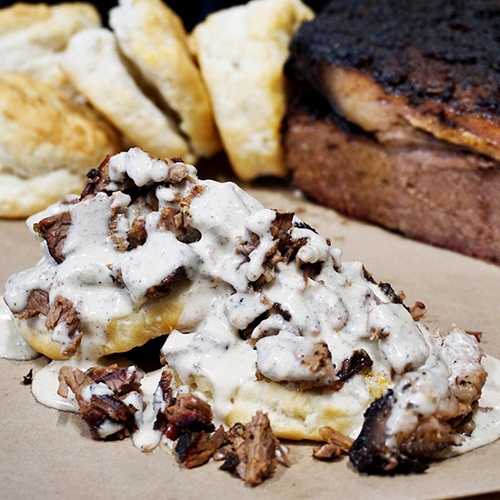 FWX HANGOVER CURES BRISKET BISCUITS AND GRAVY