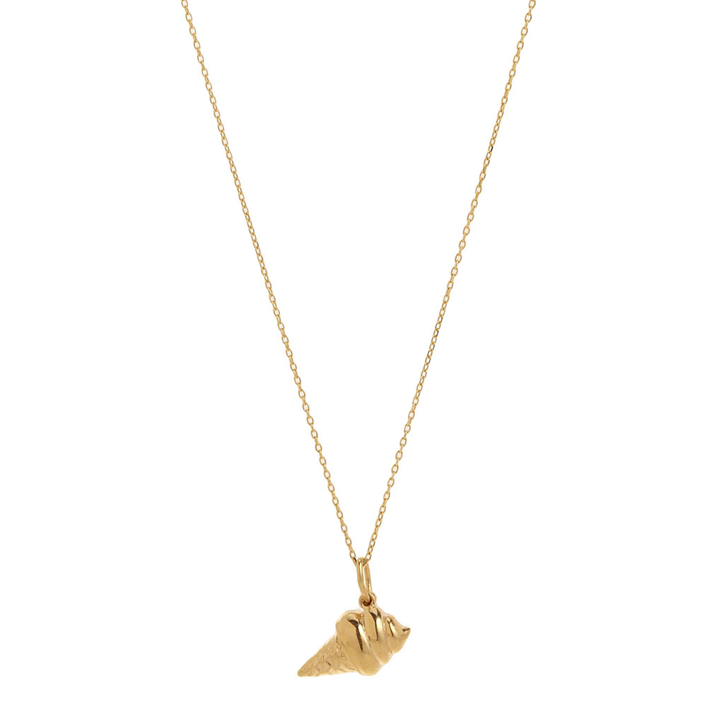 Bianca Pratt Gold Ice Cream Cone Pendant Necklace