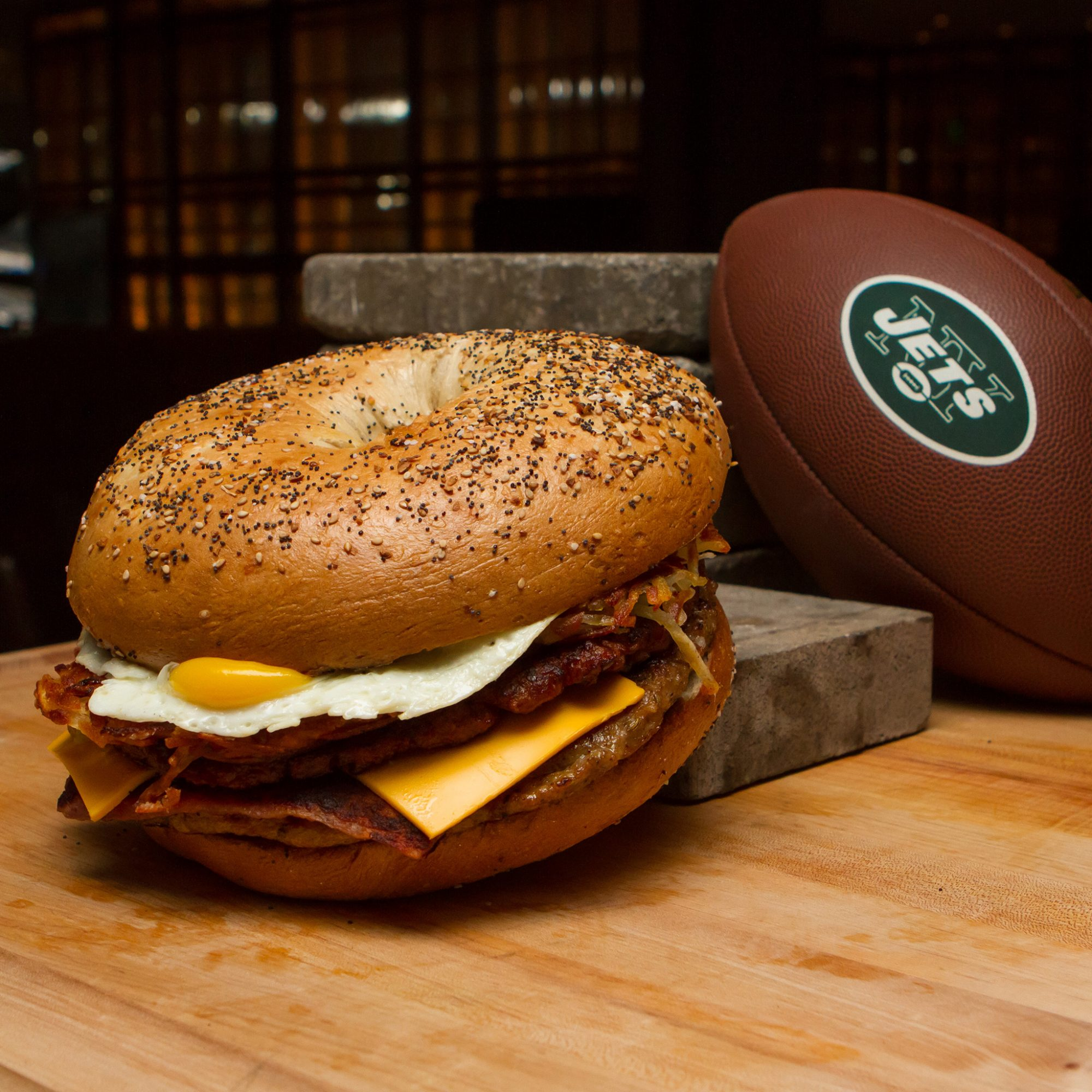 FWX  NY JETS MENU BAGEL SANDWICH