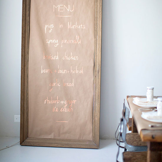 Try a handwritten menu