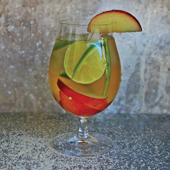 Nectarine and Serrano Pepper Cachaça Wine Cocktail