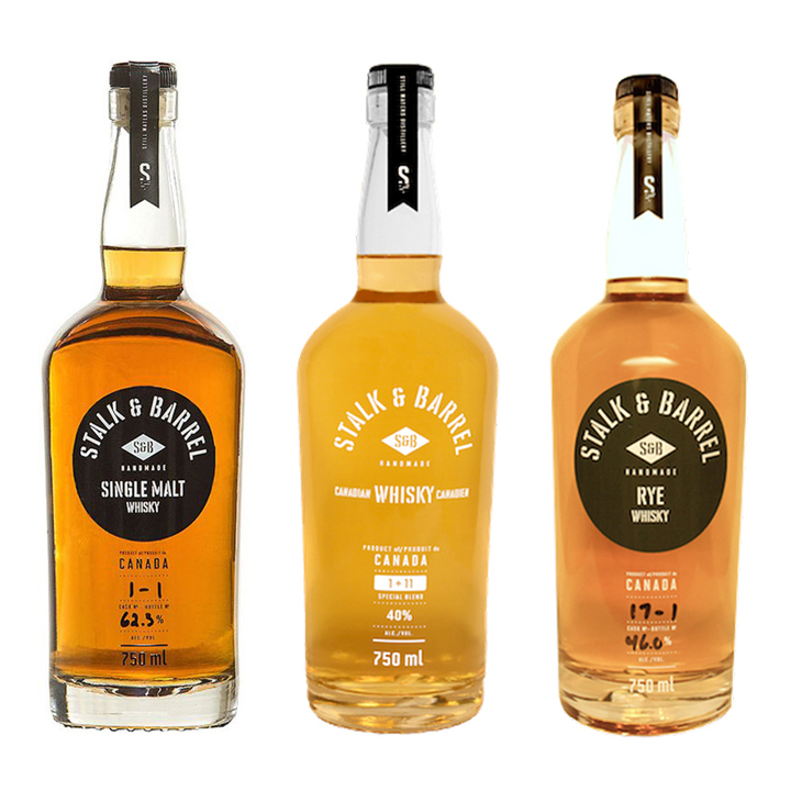 Still Waters Distillery Stalk and Barrel Rye and Single Malt ($70-$100) and 1+11 Blended Canadian Whisky ($40)