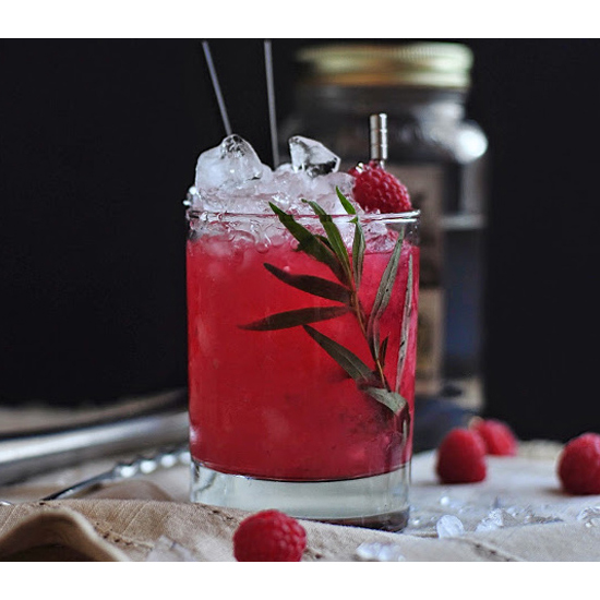Raspberry Tarragon Moonshine Smash