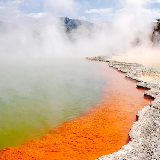 Heat up by the Champagne Pool in New Zealand.