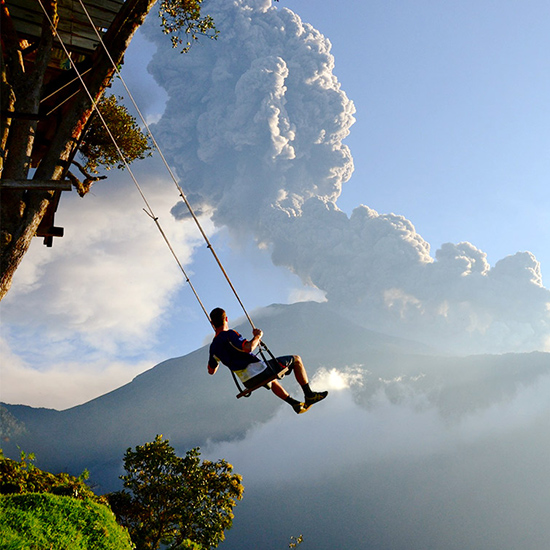"Swing at ""the end of the world"" in Ecuador."
