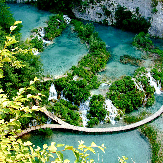 Walk through Plitvice Lakes in Croatia.