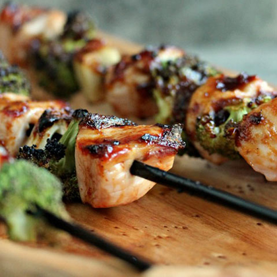 Chicken Garlic and Broccoli Kebabs