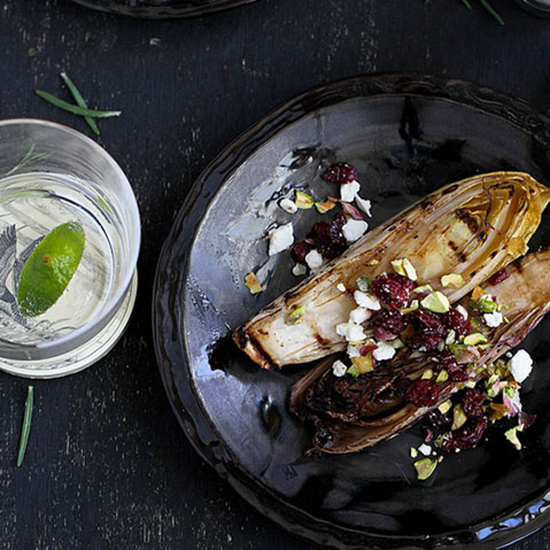 Grilled Endive with Cranberries and Feta