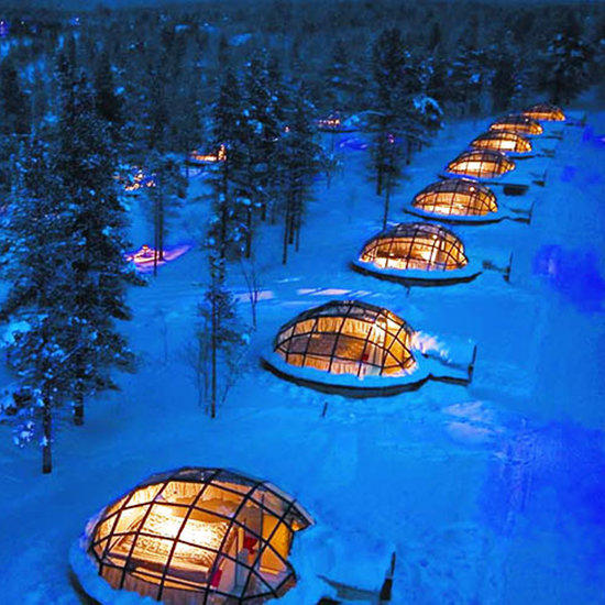 Sleep Under the Northern Lights...in a Luxury Glass Igloo