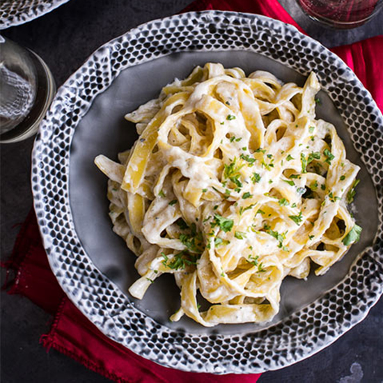 Fettuccine with Champagne Cream Sauce