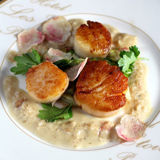 Scallops with Champagne Truffle Cream