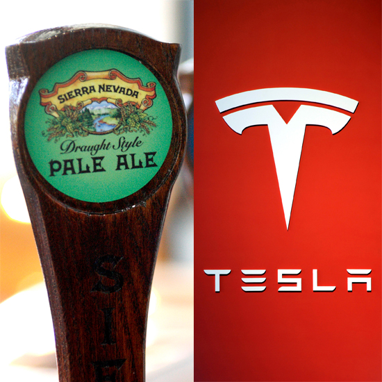 A Sierra Nevada tap and the Tesla logo