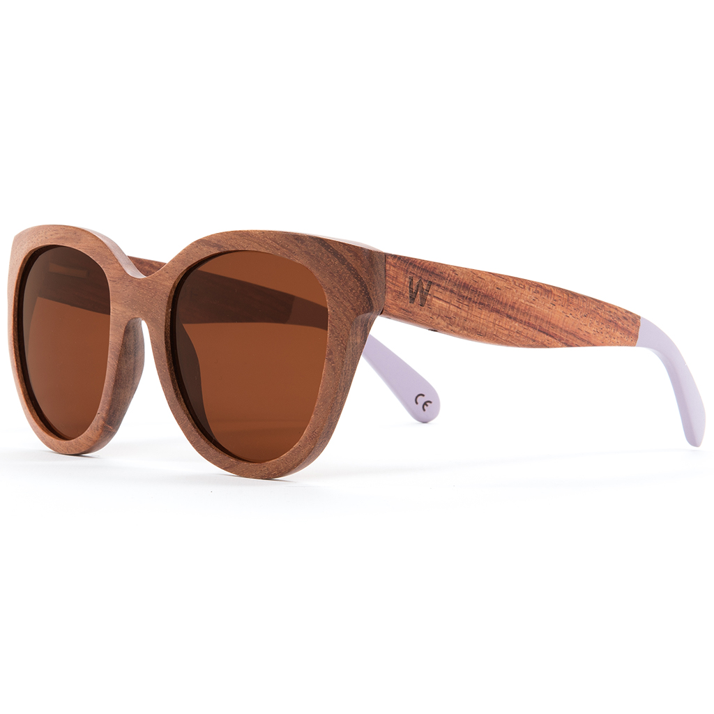 Woodzee Chloe Pear Wood Lavender Dip Sunglasses