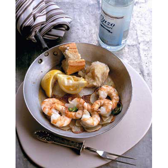 Flaming Ouzo Shrimp