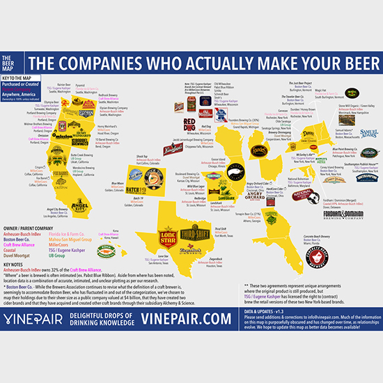 The United States Of Beer Who Owns Your Favorite Brewery Food - Us beer map red robin