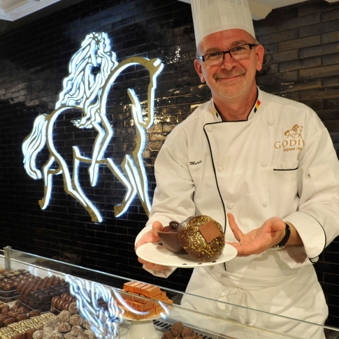Thierry Muret at the Godiva Chocolate Cafe's 2012 opening at Harrods in London.