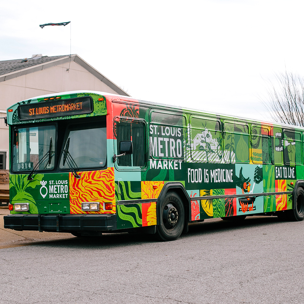 A St. Louis city bus serves as a traveling grocery store for those who need it most.