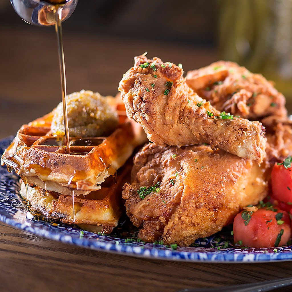 Chicken and Watermelon and Waffles from Yardbird