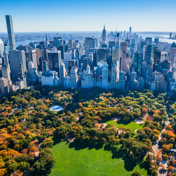 New York City's Central Park and midtown