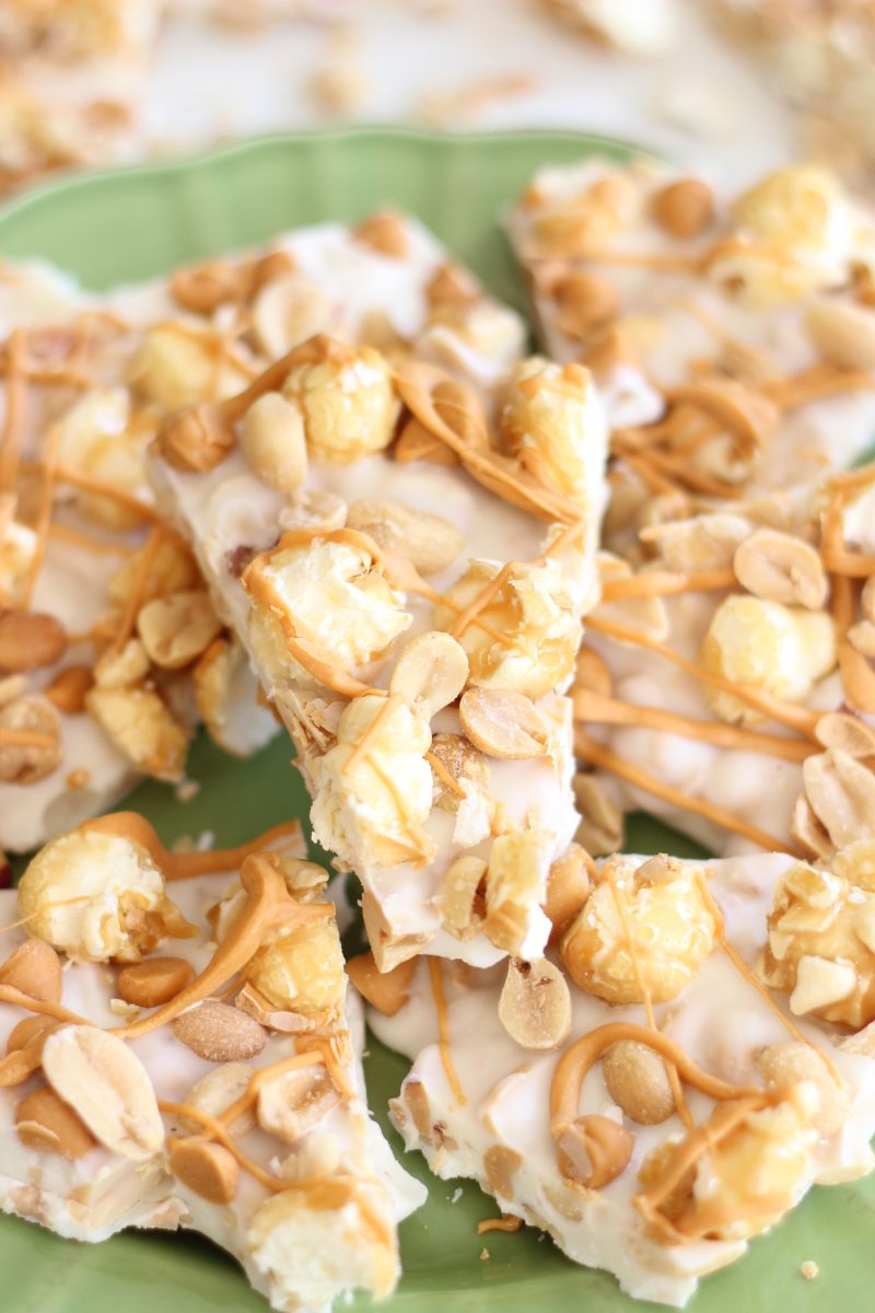 Salted Peanut Butterscotch and Caramel Corn White Chocolate Bark