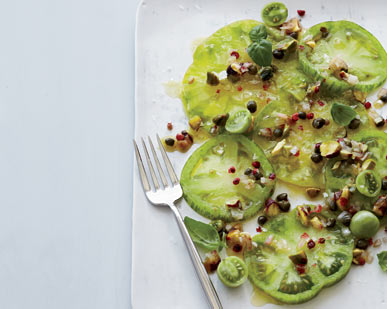 Day 23: Green Tomatoes with Pistachio Relish