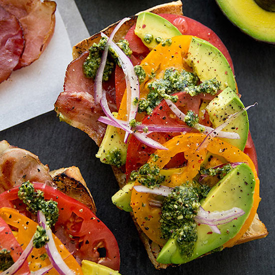 Avocado Toast With Prosciutto and Pesto