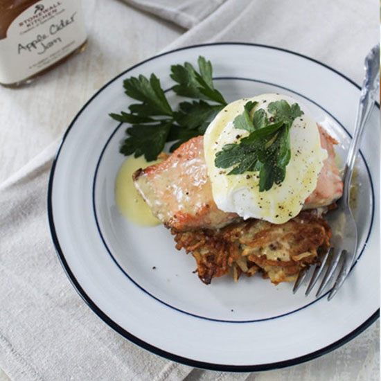 Glazed Salmon and Potato Latke Eggs Benedict