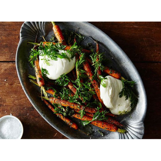 Roasted Carrots With Pesto and Burrata