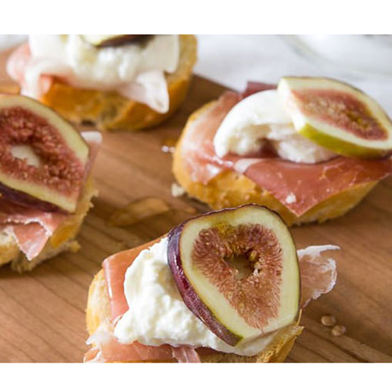Fig, Prosciutto and Burrata Crostini