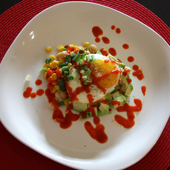 Fried Egg with Chickpea Salad and Sriracha