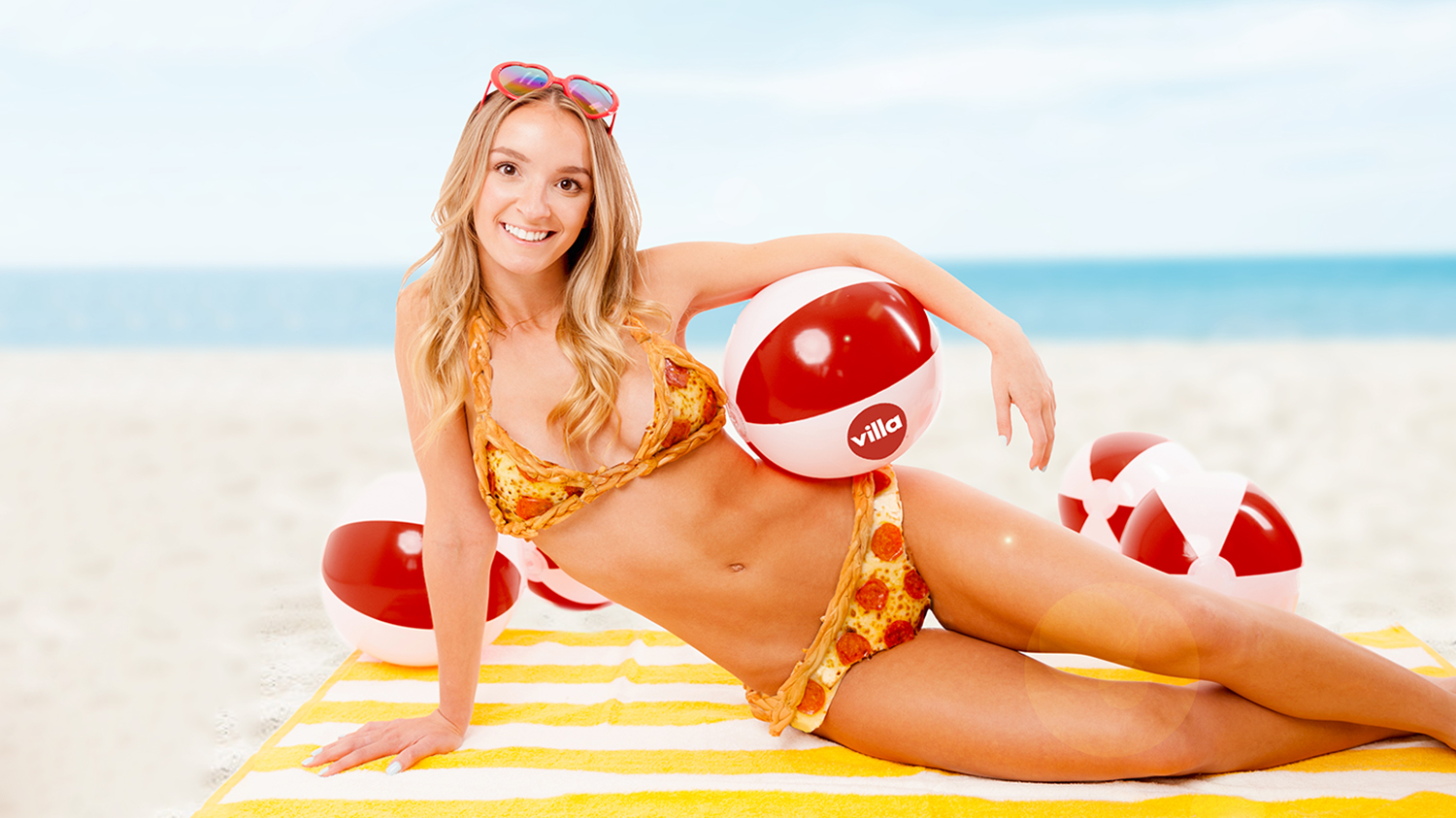 this bikini is made of pizza and is 10,000