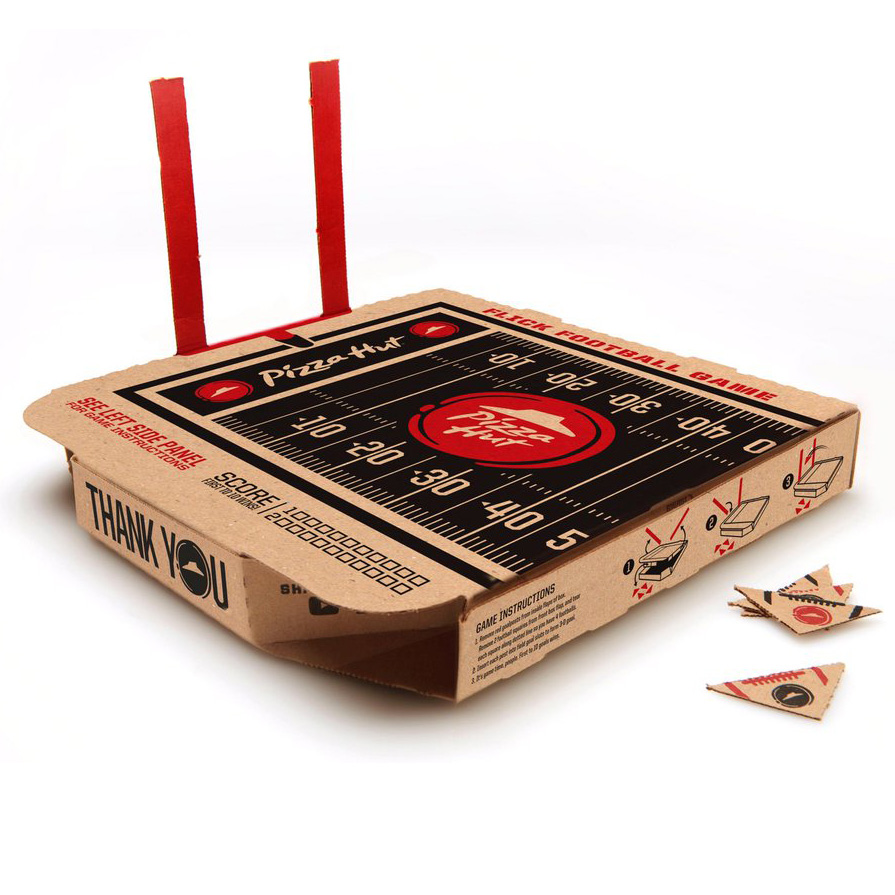Pizza Hut, flick football, pizza box