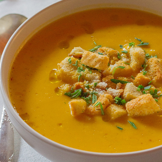 Pumpkin Soup with Rosemary Croutons