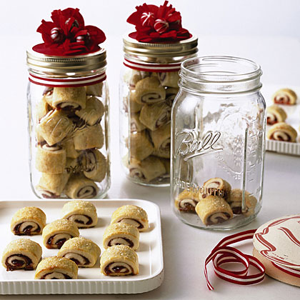 Rugelach in mason jars.