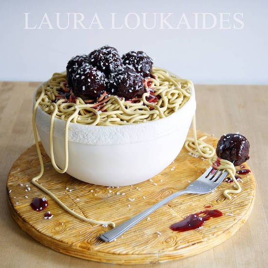 spaghetti and meaballs cake art