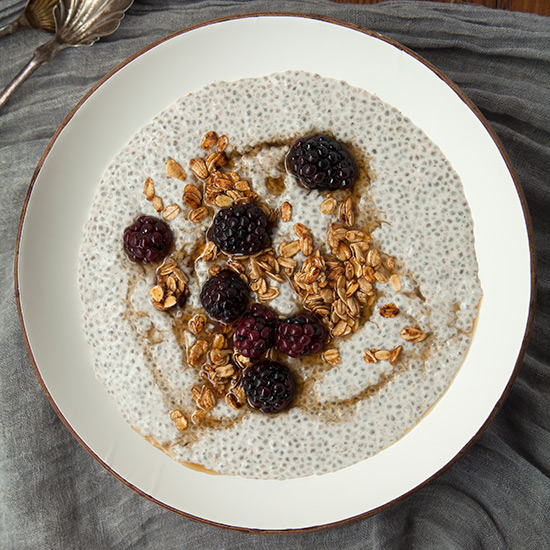 Spiced Chia Pudding with Blackberries and Granola